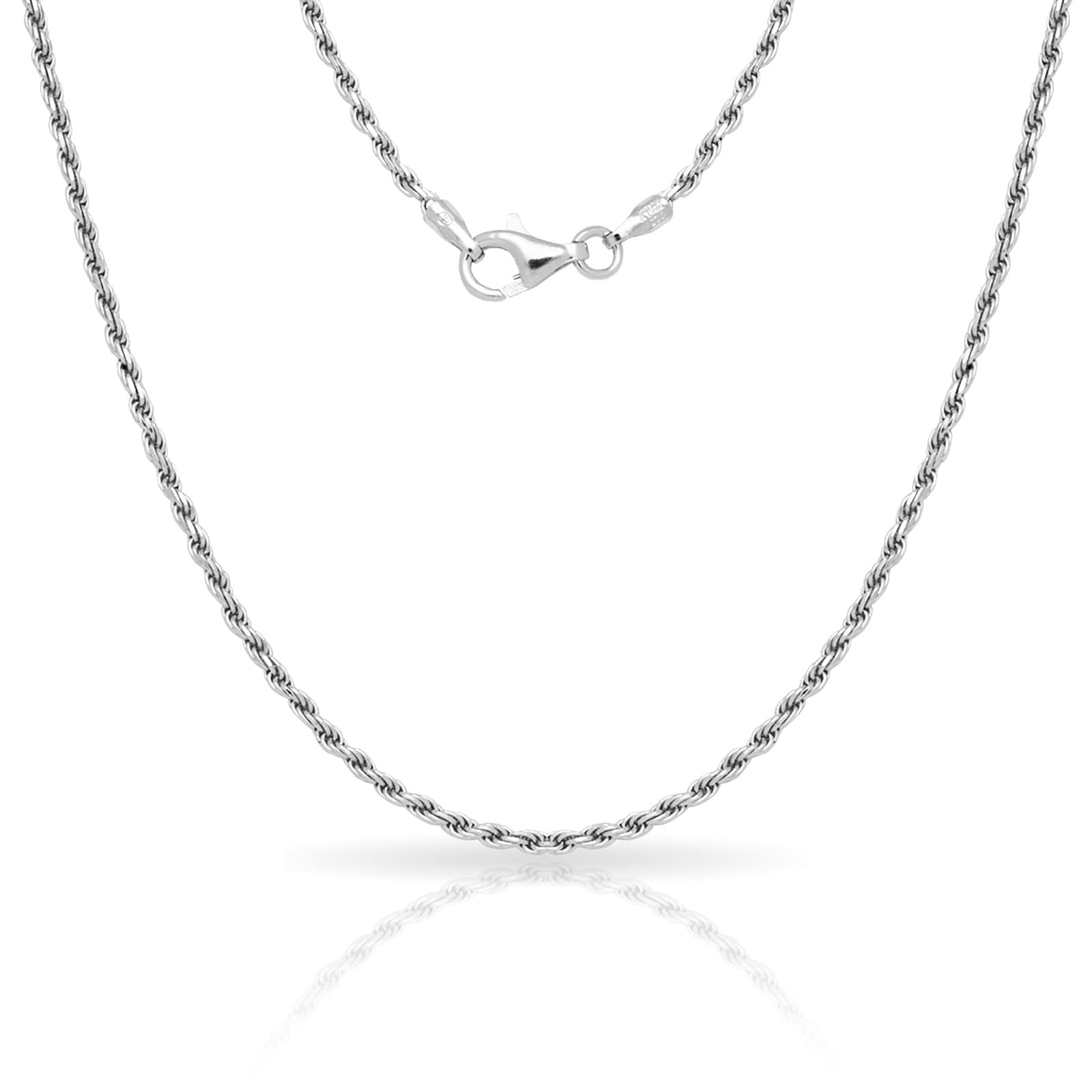 Italian .925 Sterling Silver 1.5mm Rope Chain Necklace available 16-30 inches /…