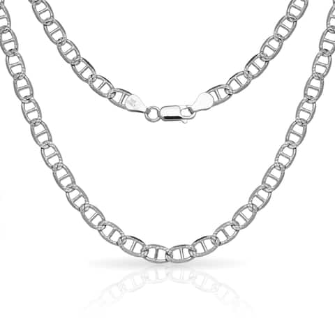 "Sterling Silver Men's Italian 6mm Pave Mariner Chain Necklace (18'-30"") - White"