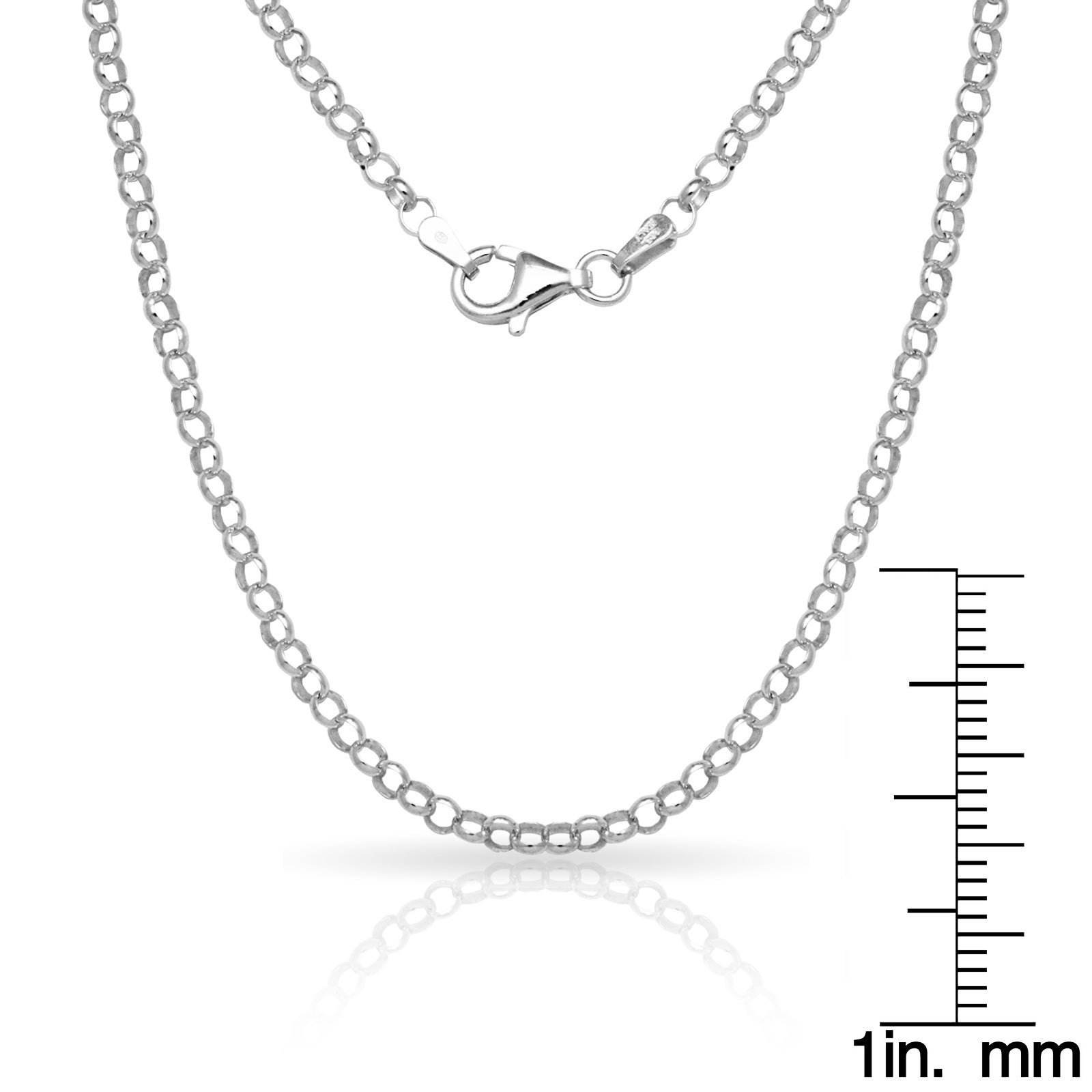 """16/"""" 18/"""" 20/"""" ITALY Sterling Silver Rolo Necklaces-Silver Cable Necklace Rhodium"""