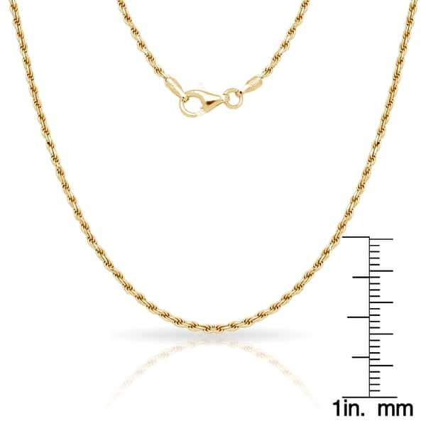 a4eac6fedf4 Sterling Silver Italian 2Mm Gold-Plated Diamond-Cut Rope Chain Necklace (16'