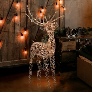 Alpine Corporation Rattan Reindeer with Halogen Lights, 35 Inches Tall