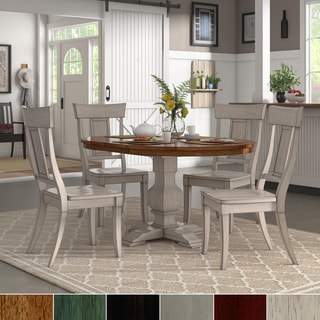 Eleanor Antique White Extending Oval Wood Table Panel Back 5-piece Dining Set by iNSPIRE Q Classic