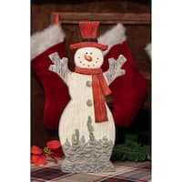 Alpine Christmas Snowman with Red Hat & Scarf Statue, 17 Inch Tall
