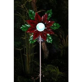 Solar Rotating Poinsettia with LED Glass Ball Garden Stake