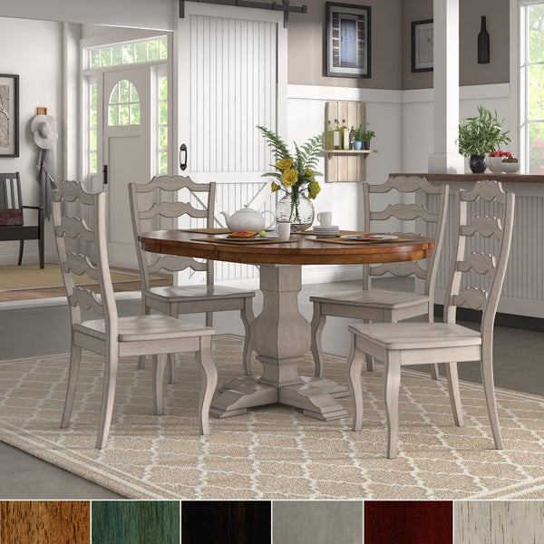 Eleanor Antique White Extending Oval Wood Table French Back 5-piece Dining Set by iNSPIRE Q Classic. Opens flyout.