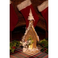 Alpine Christmas Wooden House with 10 LED Lights, 15 Inch Tall