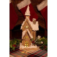Alpine Christmas Wooden House with 10 LED Lights, 18 Inch Tall