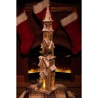 "31"" Christmas Wooden House with 15 LED Lights"