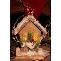 """8"""" Christmas Wooden Birdhouse with 5 LED Lights"""