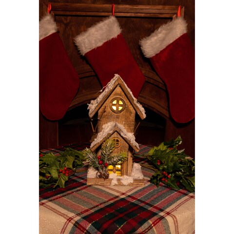 Christmas Wooden Birdhouse with 10 LED Lights