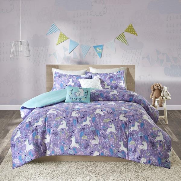Urban Habitat Kids Ella Purple Cotton Printed 5-piece Duvet Cover Set