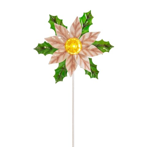 Alpine Corporation Solar White Christmas Poinsettia Garden Stake with LED Light