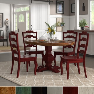 Eleanor Berry Red Extending Oval Wood Table French Back 5 Piece Dining Set  By INSPIRE
