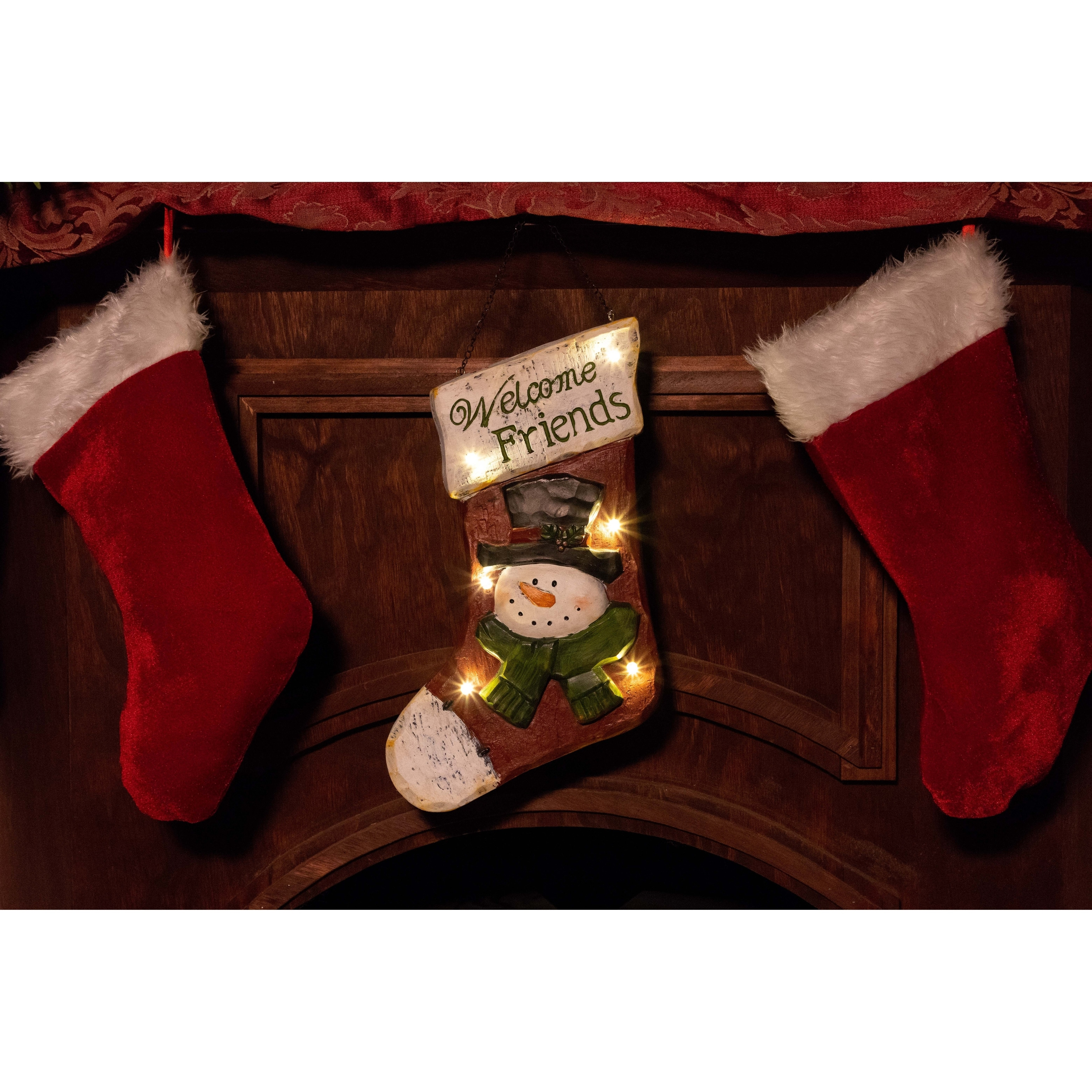 Alpine Stocking Hanging Wall Decor w/ LED Lights and Timer, 14 Inch Tall (Multi Color)