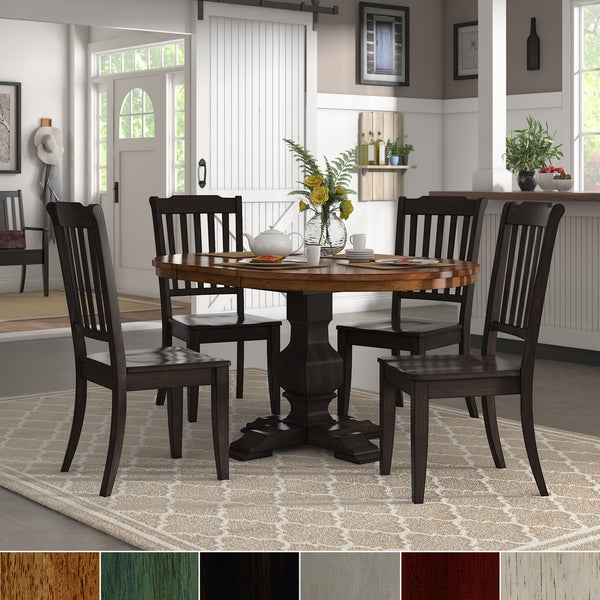 Dining Table Sets On Sale: Shop Eleanor Black Extending Oval Wood Table Slat Back 5