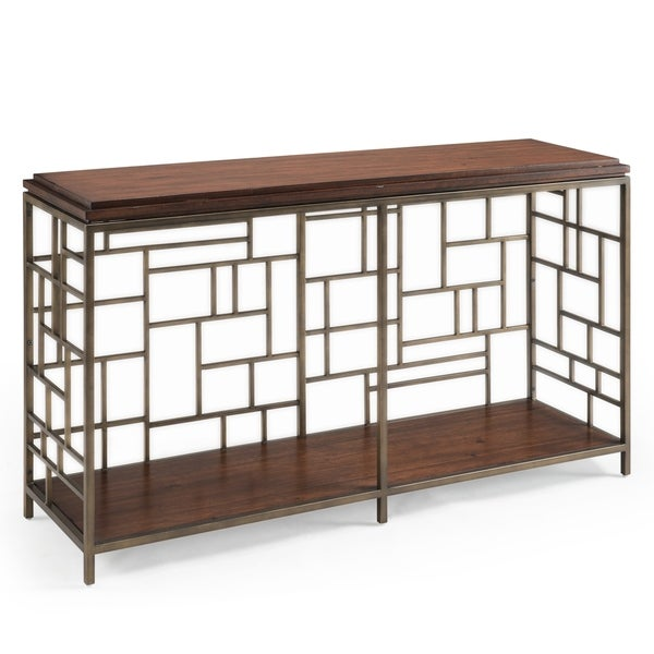 Murdock Modern Tobacco And Antique Gold Rectangular Entryway Table