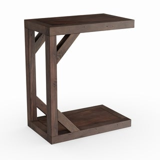 Delicieux Beck Modern Dark Chocolate Reclaimed Wood C Shaped Snack Accent Table