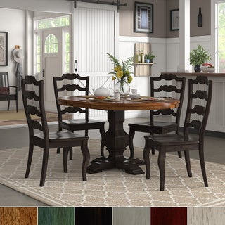 Eleanor Black Extending Oval Wood Table French Back 5-piece Dining Set by iNSPIRE Q Classic