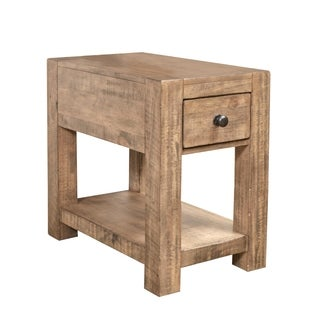 Magnussen Home Furnishings Griffith Farmhouse Weathered Toffee Wood Rectangular Chairside End Table