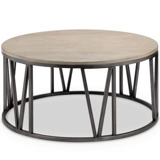 Avalon Modern Weathered White Oak Round Coffee Table