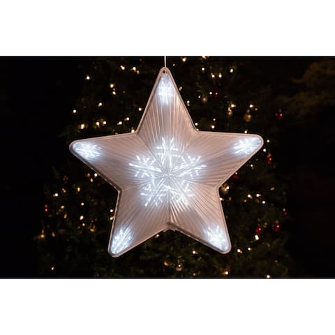 Alpine 3D Star Hanging Decoration w/ 60 LED Lights and 6 Functions, 19 Inch