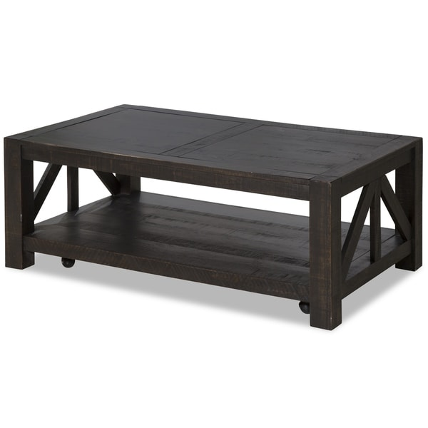Magnussen Home Furnishings Easton Farmhouse Dark Chocolate Rectangular Coffee  Table With Casters
