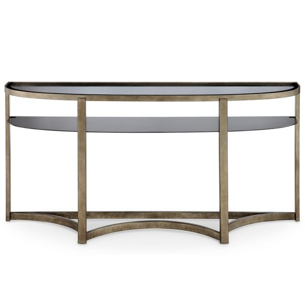 Frisco Contemporary Antique Pewter Demilune Console Table