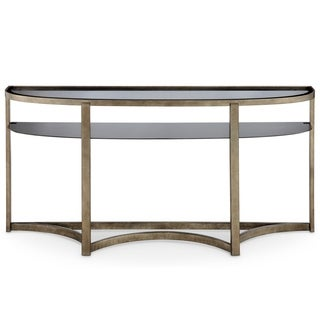 Magnussen Home Furnishings Frisco Antique Pewter Metal Demilune Console Table with Smoked Tempered Glass Top