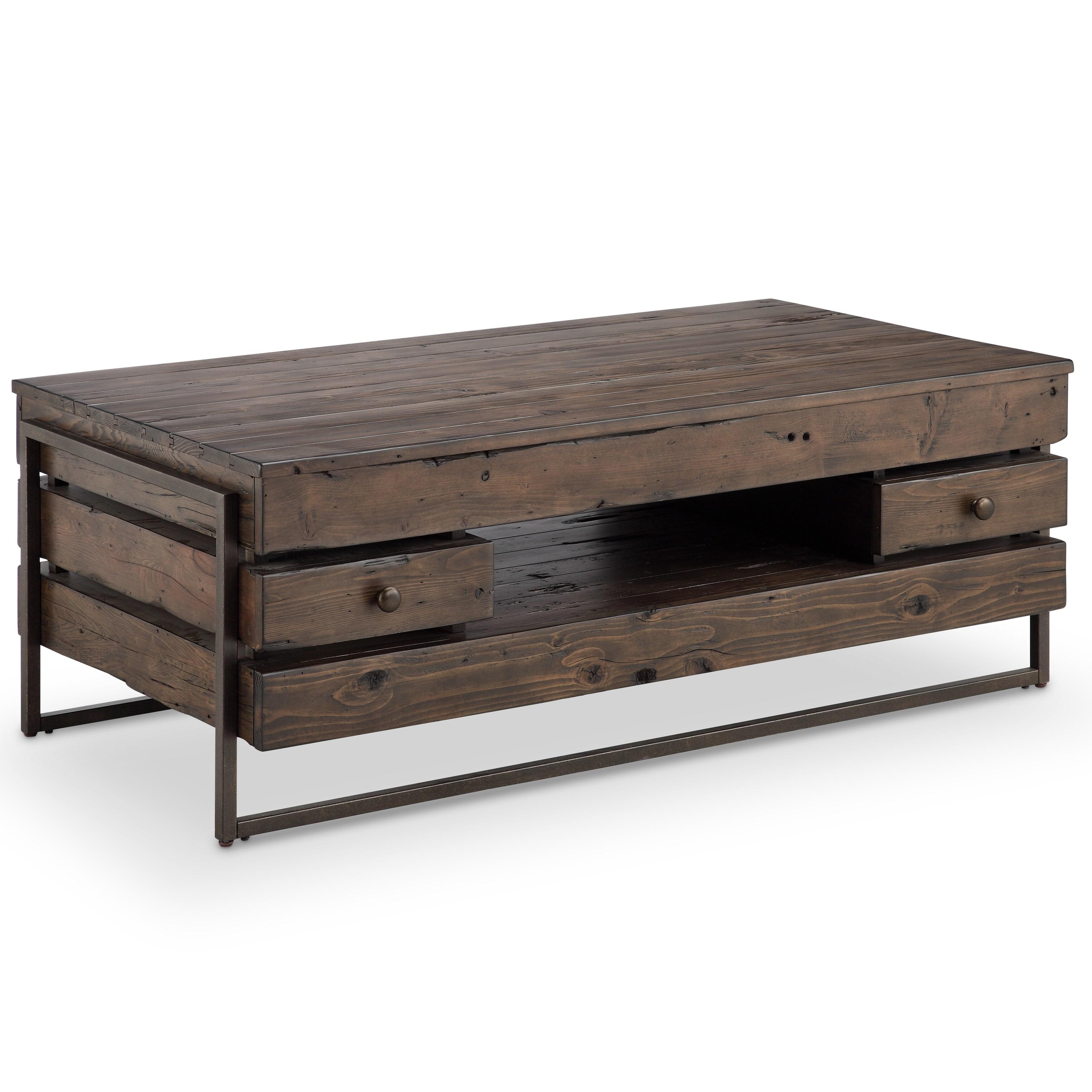 Shop Kirkwood Modern Rustic Dark Whiskey Reclaimed Wood Coffee Table