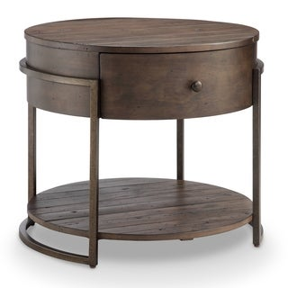 Magnussen Home Furnishings Kirkwood Modern Rustic Dark Whiskey Reclaimed Wood Round Accent Table