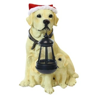 Solar Christmas Labrador and Puppy: Motion Sensored Bark