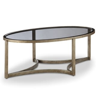Frisco Contemporary Antique Pewter Oval Coffee Table