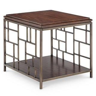 Murdock Modern Tobacco and Antique Gold Rectangular End Table