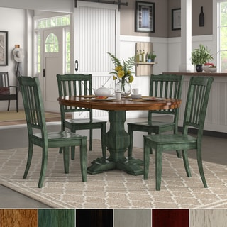 Eleanor Sage Green Extending Oval Wood Table Slat Back 5-piece Dining Set by iNSPIRE Q Classic