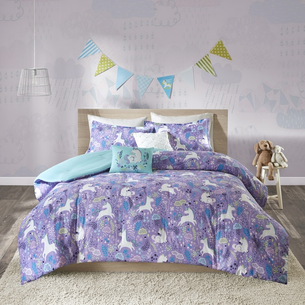 Urban Habitat Kids Ella Purple Cotton Printed 5-piece Comforter Set