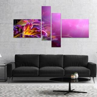 Designart 'Flowers on Purple Background' Floral Canvas Art Print