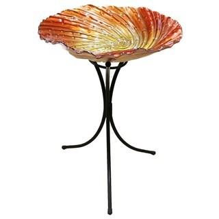 26-inch Orange Glass Birdbath with Metal Stand