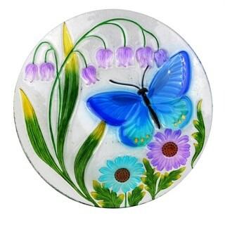 "18"" Butterfly and Flowers Birdbath"