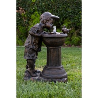 Goldtone Polyresin Boy Drinking Water Out of Fountain with LED Light