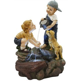 Alpine Corporation Boy Washing Girls Hands Fountain With LED Lights