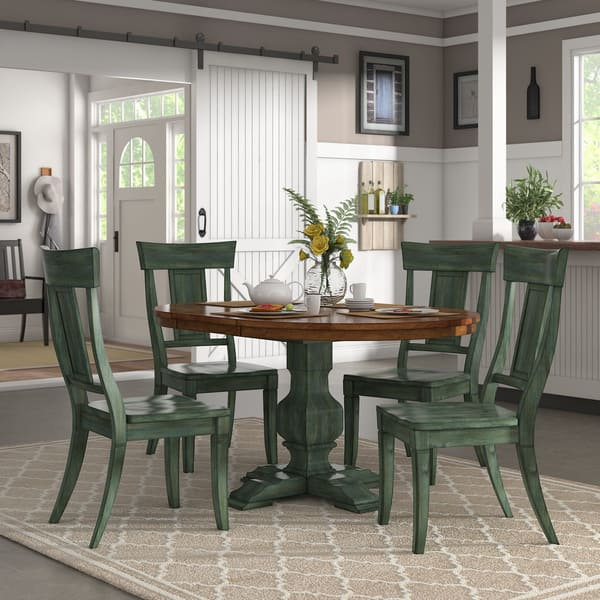 Shop Eleanor Sage Green Extending Oval Wood Table Panel Back ...