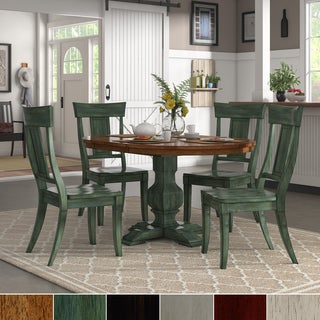 Eleanor Sage Green Solid Wood Oval Table Napoleon Back 5-piece ...