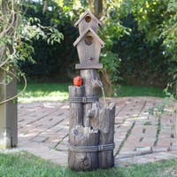 Alpine 3-tiered Birdhouse with Cardinal Fountain