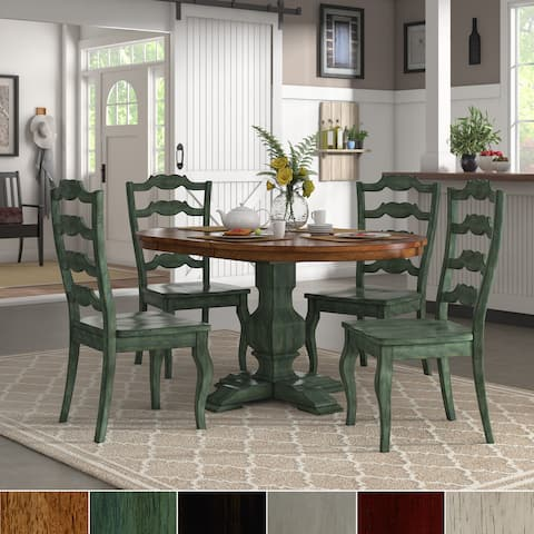 Eleanor Sage Green Extending Oval Wood Table French Back 5-piece Dining Set by iNSPIRE Q Classic