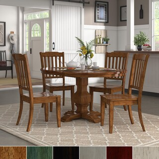 Eleanor Oak Extending Oval Wood Table Slat Back 5-piece Dining Set by iNSPIRE Q Classic