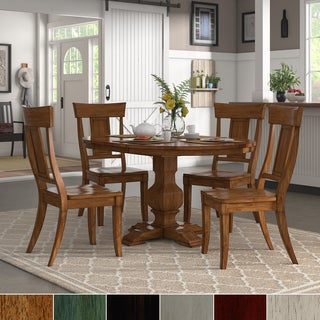Eleanor Oak Extending Oval Wood Table Panel Back 5-piece Dining Set by iNSPIRE Q Classic