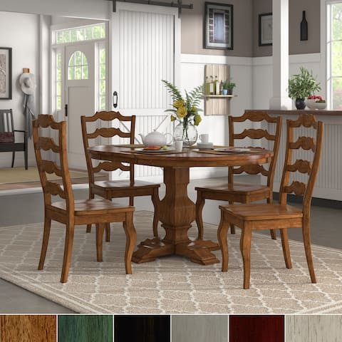 Eleanor Oak Extending Oval Wood Table French Back 5-piece Dining Set by iNSPIRE Q Classic