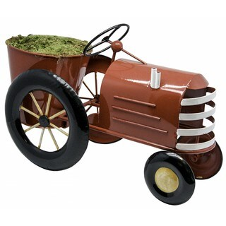 Alpine Corporation Red Iron Metal Tractor Planter