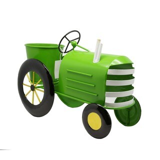 Alpine Lime Green Metal Tractor Planter