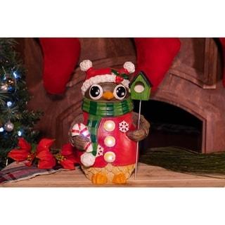 Christmas Owl with Bird House Statue - TM